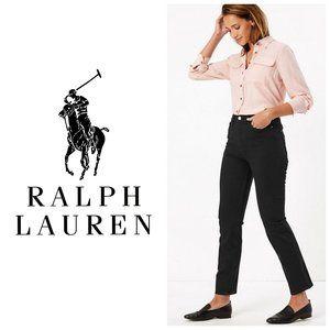 RALPH LAUREN High Rise Straight Leg Ankle Jeans